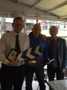 David Newman receiving the Captain's award for 2015 from Nick Bailey and Curly Goodwin