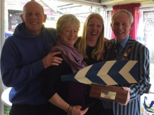 Jo Johnston and Maria West -Burrows recieve the Captain's award for 2016 from Nick Bailey and Curly Goodwin